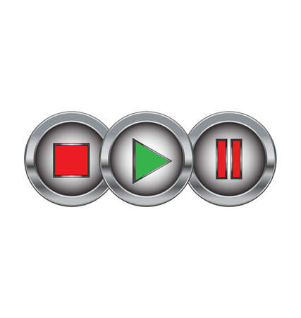 metal buttons with play stop pause symbols Vector