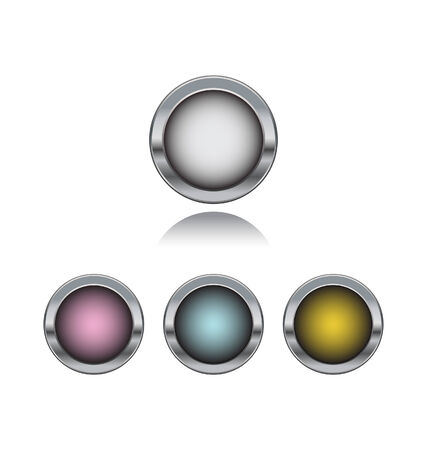 silver buttons isolated on white background  向量圖像