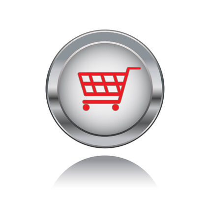 acquire: metal button with shopping symbol
