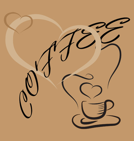 background with cup of coffee and lovely hearts Stock Vector - 8555589