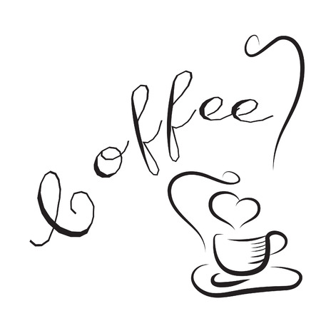 hart: background with cup of coffee and lovely hearts  Illustration