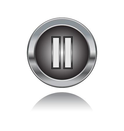 botón de metal con símbolo de pausa aislado en fondo blanco