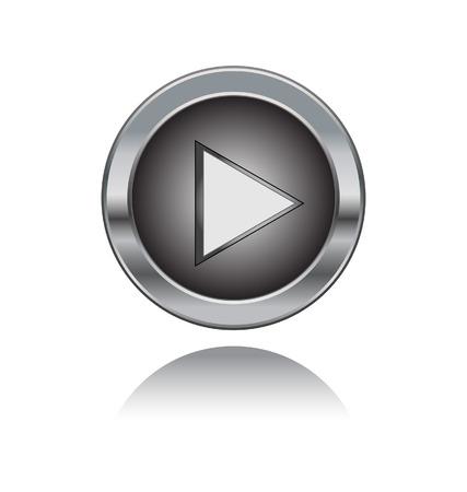 metal play button Vector