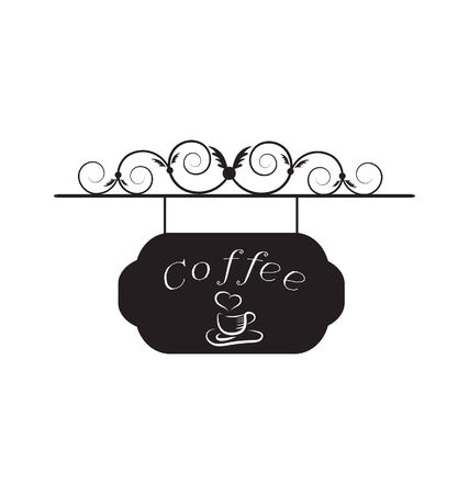 caffeine: old signboard with cup of coffee image