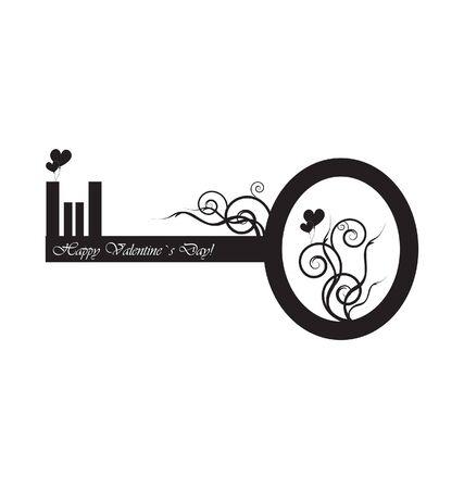 Black key with design  Illustration