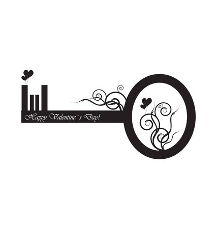 happiness symbol: Black key with design  Illustration