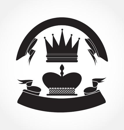 Vintage Style. Black ribbon with black crown