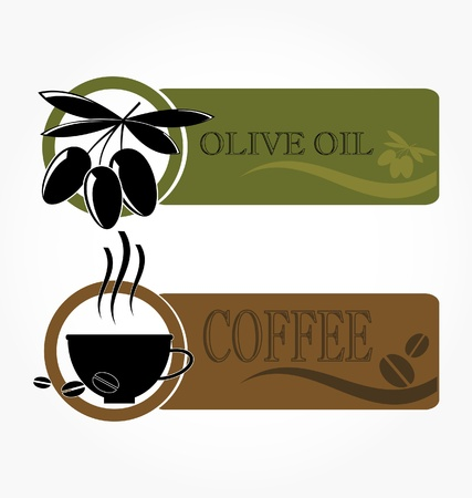 tags with olive and coffee cup icons Stock Vector - 8677365