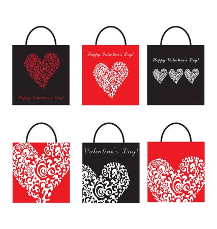 set of Shoping Bags for valentine`s day  Vector