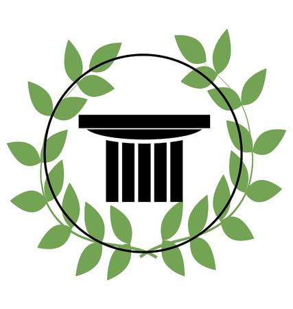 laurel leaf: icono con s�mbolos griegos