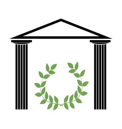 roman pillar: Greek Temple with Doric columns Illustration