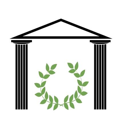 pilastri: Tempio greco con colonne doriche Vettoriali