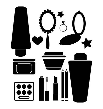 ladenkast: Cosmetica en producten van de schoonheid Stock Illustratie