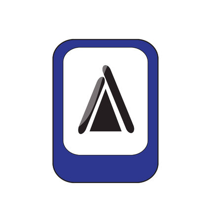 blue sign with camping icon  Vector