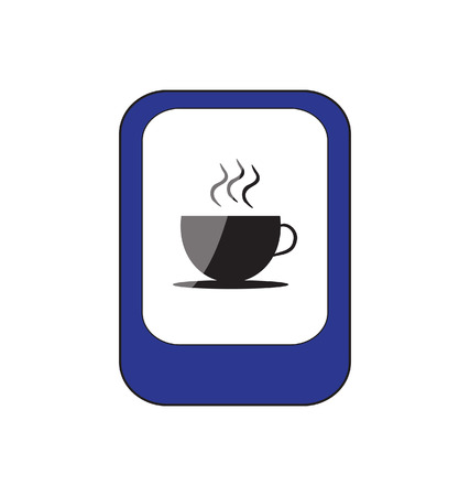 blue sign with cup of coffee image  Vector