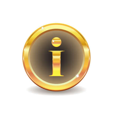 gold button with information icon Stock Vector - 8780465