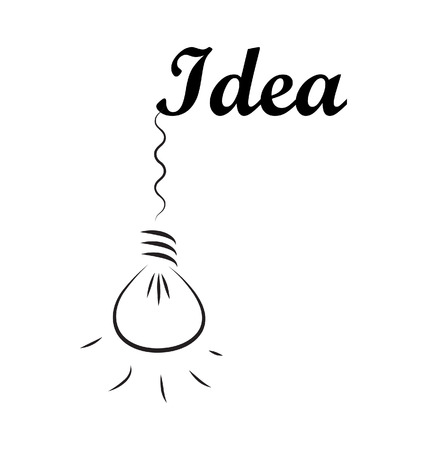 Idea word with hanging bulb isolated on white background  Illustration