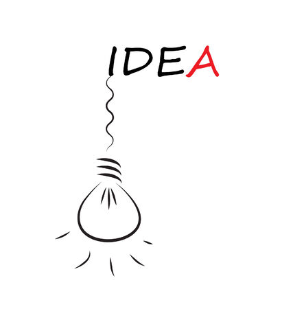 Idea word with hanging bulb isolated on white background  向量圖像