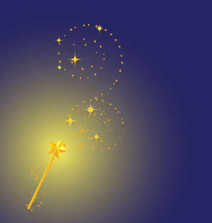 star wand: background with magic wand image  Illustration