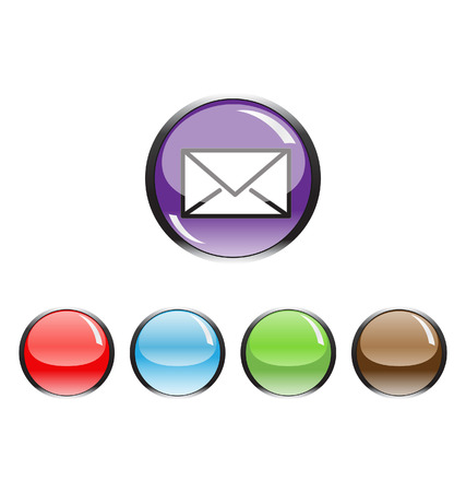 metal button with mail icon  Stock Vector - 8779200