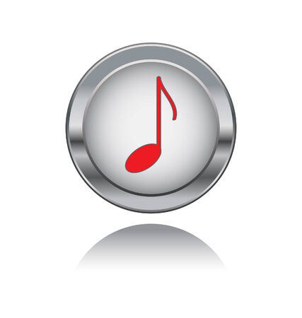 headset symbol: metal button with note icon  Illustration