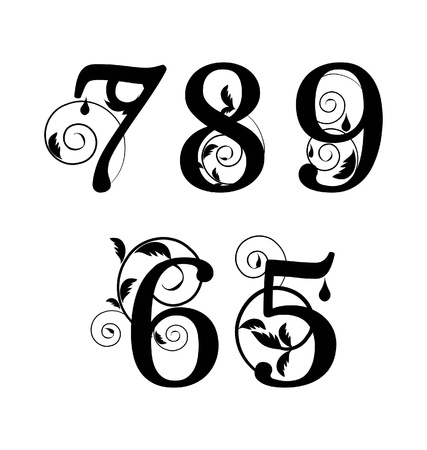 Floral font. Numbers from 5till 9 Stock Illustratie
