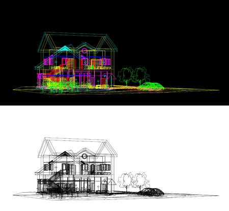 Wireframe Of Cottage Vector