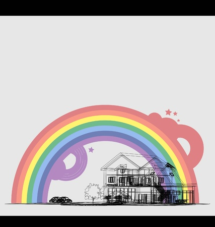 Wireframe Of Cottage with rainbow  Vector