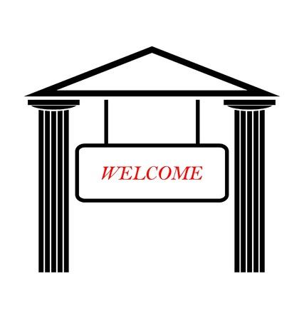 temple grec: Temple grec avec colonnes doriques Illustration