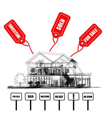 Wireframe Of Cottage with tags  Stock Vector - 8977489