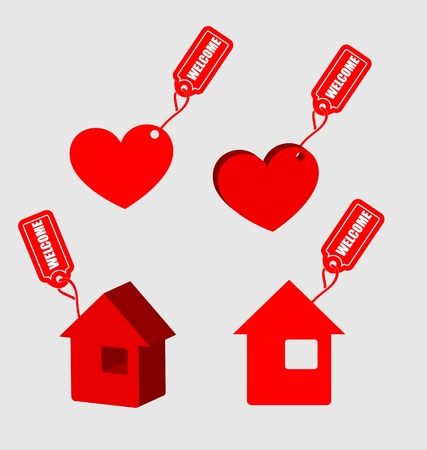 Label Welcome for home and heart  Vector