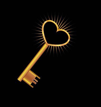 keys isolated: Llave de oro abre el coraz�n Vectores