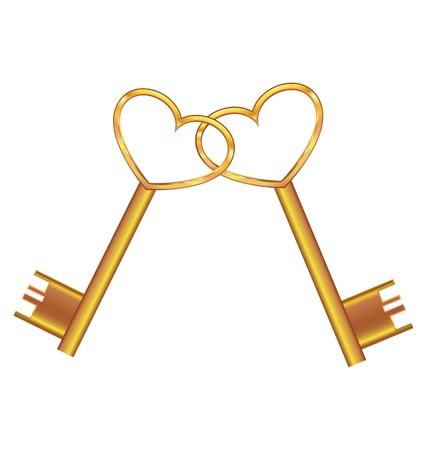 key to freedom: Llave de oro abre el coraz�n Vectores