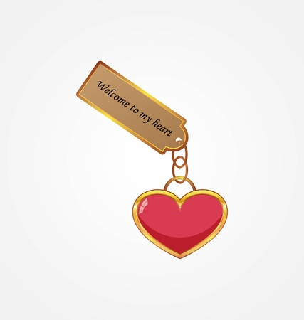 door lock love: Golden key with tag Illustration