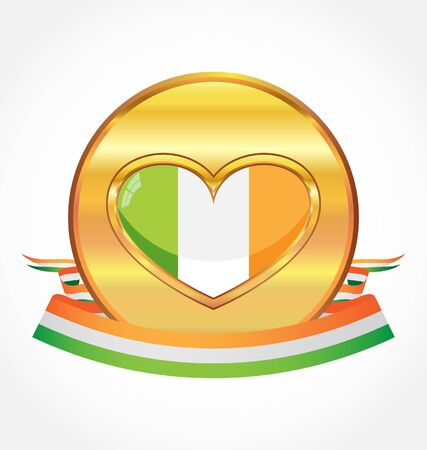 gold metal with flag of Ireland Vector