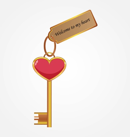 gain access: Golden key with tag Illustration