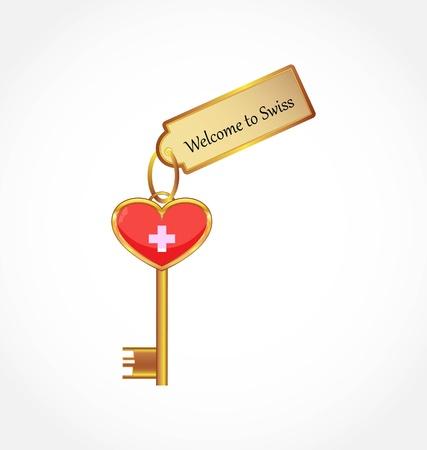 schweiz: key with welcome tag Illustration