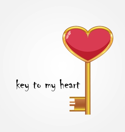 love symbol: Golden key opens the heart