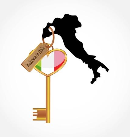 イタリアへの鍵  イラスト・ベクター素材