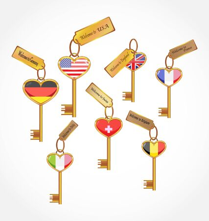 set of key with flags photo