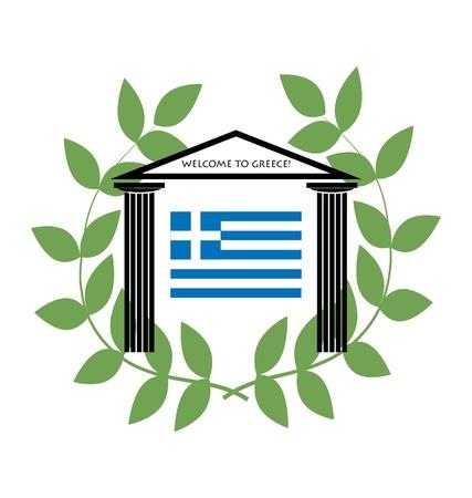 templo griego: Templo griego con columnas d�ricas y bandera de Grecia  Vectores