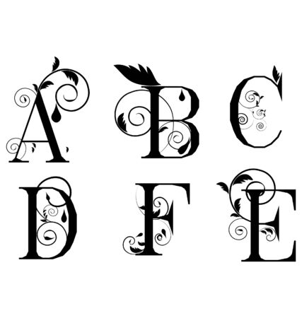 black and white line drawing: Vector Sketch  letters