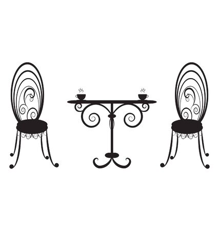 retro  table and two chairs Stock Vector - 9470193