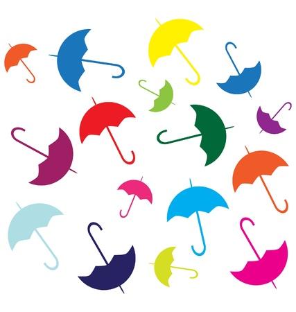 raining background: mix of color umbrellas