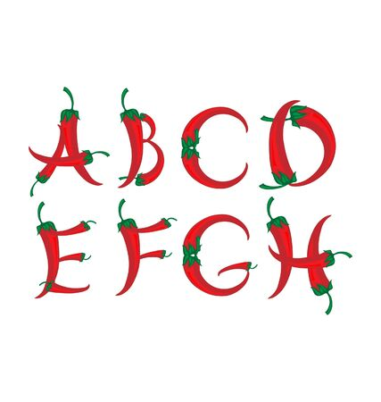peppers: chili peppers alphabet  Illustration