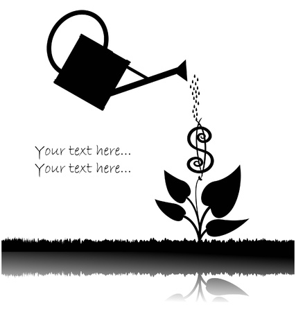 water can  watering plant with dollar  Vector