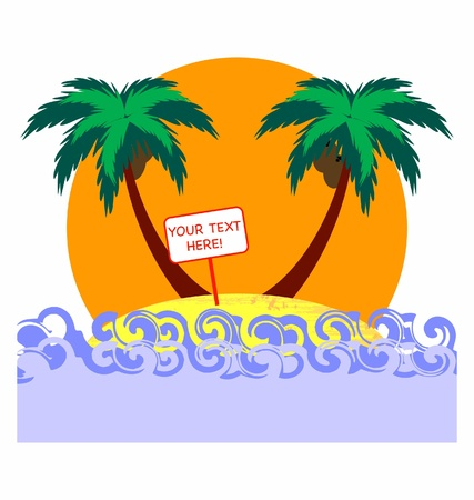 tropical palms and sunset Vector