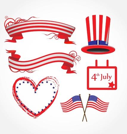 calendario julio: Fondo de bandera estadounidense estilizado