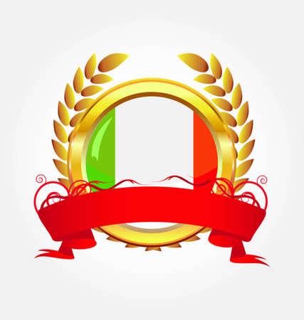Italy shiny button flag with golden frame Vector