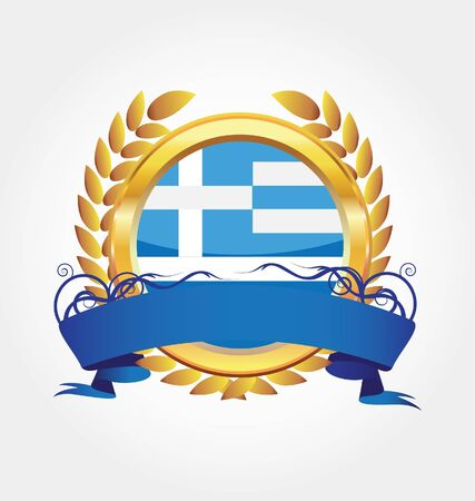 Greece shiny button flag with golden frame